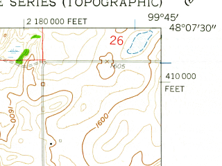 Reduced fragment of topographic map en--usgs--024k--014542--(1958)--N048-07-30_W099-52-30--N048-00-00_W099-45-00; towns and cities Esmond