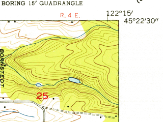 Reduced fragment of topographic map en--usgs--024k--014565--(1954)--N045-22-30_W122-22-30--N045-15-00_W122-15-00; towns and cities Estacada