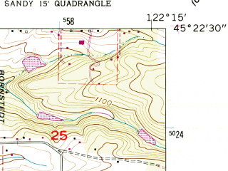 Reduced fragment of topographic map en--usgs--024k--014565--(1961)--N045-22-30_W122-22-30--N045-15-00_W122-15-00; towns and cities Estacada