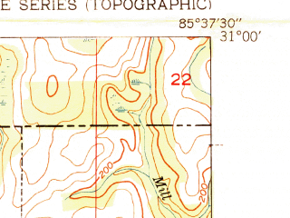 Reduced fragment of topographic map en--usgs--024k--014586--(1951)--N031-00-00_W085-45-00--N030-52-30_W085-37-30; towns and cities Esto