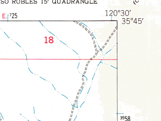 Reduced fragment of topographic map en--usgs--024k--014589--(1948)--N035-45-00_W120-37-30--N035-37-30_W120-30-00; towns and cities Estrella