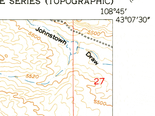 Reduced fragment of topographic map en--usgs--024k--014597--(1951)--N043-07-30_W108-52-30--N043-00-00_W108-45-00; towns and cities Ethete