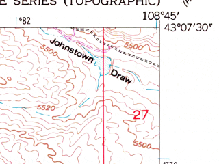 Reduced fragment of topographic map en--usgs--024k--014597--(1959)--N043-07-30_W108-52-30--N043-00-00_W108-45-00; towns and cities Ethete