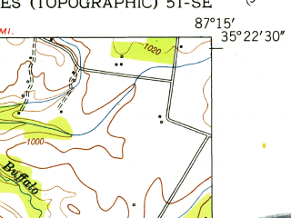 Reduced fragment of topographic map en--usgs--024k--014598--(1951)--N035-22-30_W087-22-30--N035-15-00_W087-15-00; towns and cities Ethridge