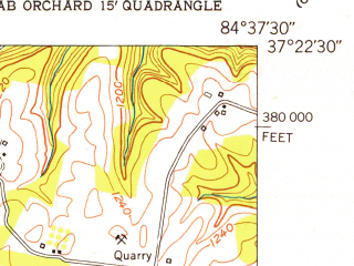 Reduced fragment of topographic map en--usgs--024k--014611--(1952)--N037-22-30_W084-45-00--N037-15-00_W084-37-30; towns and cities Eubank