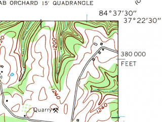 Reduced fragment of topographic map en--usgs--024k--014611--(1961)--N037-22-30_W084-45-00--N037-15-00_W084-37-30; towns and cities Eubank