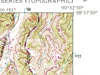 Reduced fragment of topographic map en--usgs--024k--014639--(1954)--N038-37-30_W090-45-00--N038-30-00_W090-37-30; towns and cities Eureka