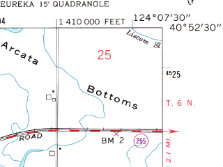 Reduced fragment of topographic map en--usgs--024k--014641--(1958)--N040-52-30_W124-15-00--N040-45-00_W124-07-30; towns and cities Eureka, Cutten, Myrtletown, Bayview