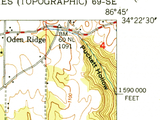 Reduced fragment of topographic map en--usgs--024k--014663--(1951)--N034-22-30_W086-52-30--N034-15-00_W086-45-00; towns and cities Eva