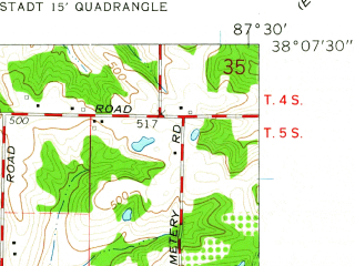 Reduced fragment of topographic map en--usgs--024k--014686--(1961)--N038-07-30_W087-37-30--N038-00-00_W087-30-00; towns and cities Darmstadt, Highland, Melody Hill