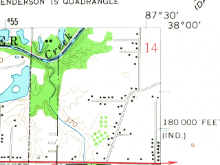 Reduced fragment of topographic map en--usgs--024k--014687--(1957)--N038-00-00_W087-37-30--N037-52-30_W087-30-00; towns and cities Evansville