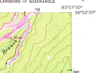 Reduced fragment of topographic map en--usgs--024k--014691--(1954)--N036-52-30_W083-15-00--N036-45-00_W083-07-30; towns and cities Evarts