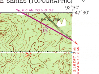 Reduced fragment of topographic map en--usgs--024k--014692--(1951)--N047-30-00_W092-37-30--N047-22-30_W092-30-00; towns and cities Eveleth, Iron Junction, Leonidas