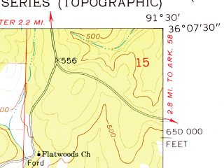 Reduced fragment of topographic map en--usgs--024k--014694--(1961)--N036-07-30_W091-37-30--N036-00-00_W091-30-00; towns and cities Evening Shade