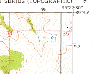 Reduced fragment of topographic map en--usgs--024k--014697--(1961)--N039-45-00_W095-30-00--N039-37-30_W095-22-30; towns and cities Everest