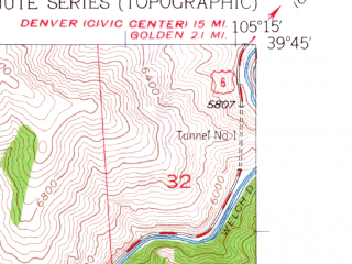 Reduced fragment of topographic map en--usgs--024k--014705--(1960)--N039-45-00_W105-22-30--N039-37-30_W105-15-00; towns and cities Evergreen, Genesee