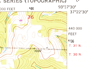 Reduced fragment of topographic map en--usgs--024k--014719--(1956)--N037-22-30_W093-45-00--N037-15-00_W093-37-30; towns and cities Everton