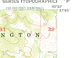 Reduced fragment of topographic map en--usgs--024k--014777--(1956)--N037-45-00_W093-37-30--N037-37-30_W093-30-00; towns and cities Fair Play