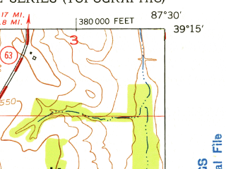 Reduced fragment of topographic map en--usgs--024k--014780--(1952)--N039-15-00_W087-37-30--N039-07-30_W087-30-00