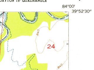 Reduced fragment of topographic map en--usgs--024k--014792--(1955)--N039-52-30_W084-07-30--N039-45-00_W084-00-00; towns and cities Fairborn, Huber Heights, Overlook-page Manor, Wright-patterson Afb, Riverside