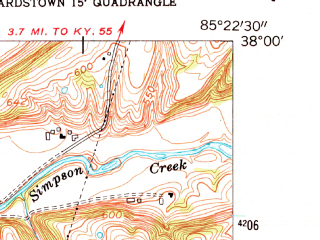 Reduced fragment of topographic map en--usgs--024k--014824--(1953)--N038-00-00_W085-30-00--N037-52-30_W085-22-30; towns and cities Fairfield