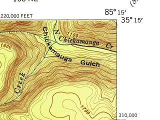 Reduced fragment of topographic map en--usgs--024k--014851--(1945)--N035-15-00_W085-22-30--N035-07-30_W085-15-00; towns and cities Signal Mountain, Fairmount, Walden