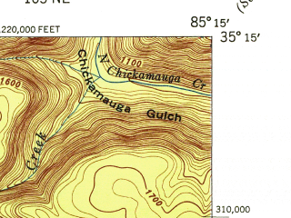 Reduced fragment of topographic map en--usgs--024k--014851--(1946)--N035-15-00_W085-22-30--N035-07-30_W085-15-00; towns and cities Signal Mountain, Fairmount, Walden