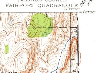Reduced fragment of topographic map en--usgs--024k--014865--(1934)--N043-07-30_W077-30-00--N043-00-00_W077-22-30; towns and cities East Rochester, Fairport