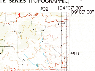 Reduced fragment of topographic map en--usgs--024k--014910--(1961)--N039-00-00_W104-45-00--N038-52-30_W104-37-30