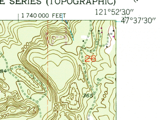 Reduced fragment of topographic map en--usgs--024k--014920--(1953)--N047-37-30_W122-00-00--N047-30-00_W121-52-30; towns and cities Fall City
