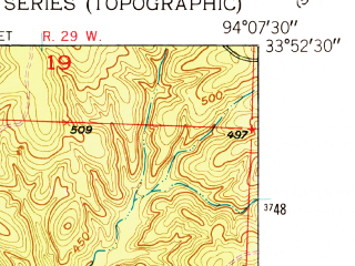 Reduced fragment of topographic map en--usgs--024k--014948--(1950)--N033-52-30_W094-15-00--N033-45-00_W094-07-30