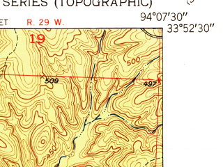 Reduced fragment of topographic map en--usgs--024k--014948--(1951)--N033-52-30_W094-15-00--N033-45-00_W094-07-30