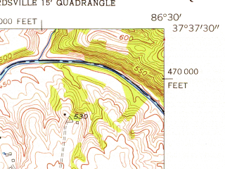 Reduced fragment of topographic map en--usgs--024k--014955--(1953)--N037-37-30_W086-37-30--N037-30-00_W086-30-00