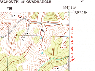 Reduced fragment of topographic map en--usgs--024k--014960--(1954)--N038-45-00_W084-22-30--N038-37-30_W084-15-00; towns and cities Falmouth