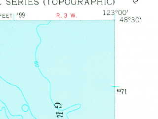 Reduced fragment of topographic map en--usgs--024k--014964--(1954)--N048-30-00_W123-07-30--N048-22-30_W123-00-00
