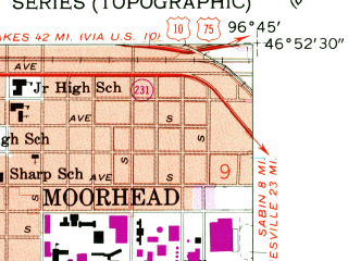 Reduced fragment of topographic map en--usgs--024k--014993--(1959)--N046-52-30_W096-52-30--N046-45-00_W096-45-00; towns and cities Moorhead, Briarwood, Frontier, Prairie Rose
