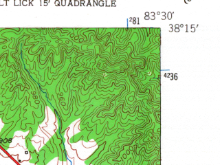 Reduced fragment of topographic map en--usgs--024k--015012--(1953)--N038-15-00_W083-37-30--N038-07-30_W083-30-00; towns and cities Lakeview Heights