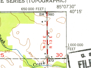Reduced fragment of topographic map en--usgs--024k--015039--(1952)--N040-15-00_W085-15-00--N040-07-30_W085-07-30; towns and cities Farmland, Parker City