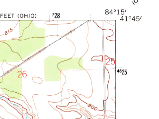 Reduced fragment of topographic map en--usgs--024k--015089--(1960)--N041-45-00_W084-22-30--N041-37-30_W084-15-00; towns and cities Fayette
