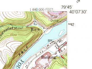 Reduced fragment of topographic map en--usgs--024k--015095--(1954)--N040-07-30_W079-52-30--N040-00-00_W079-45-00; towns and cities Belle Vernon, Dunlevy, Fayette City