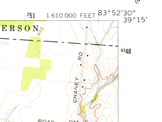 Reduced fragment of topographic map en--usgs--024k--015099--(1960)--N039-15-00_W084-00-00--N039-07-30_W083-52-30; towns and cities Fayetteville, St. Martin