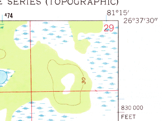 Reduced fragment of topographic map en--usgs--024k--015120--(1958)--N026-37-30_W081-22-30--N026-30-00_W081-15-00