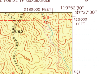 Reduced fragment of topographic map en--usgs--024k--015124--(1947)--N037-37-30_W120-00-00--N037-30-00_W119-52-30