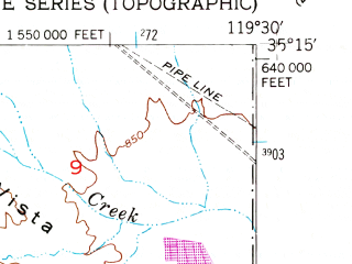 Reduced fragment of topographic map en--usgs--024k--015129--(1950)--N035-15-00_W119-37-30--N035-07-30_W119-30-00