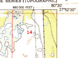 Reduced fragment of topographic map en--usgs--024k--015132--(1951)--N027-52-30_W080-37-30--N027-45-00_W080-30-00; towns and cities Micco, Fellsmere