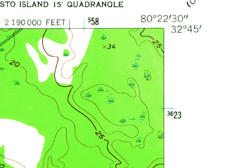 Reduced fragment of topographic map en--usgs--024k--015161--(1960)--N032-45-00_W080-30-00--N032-37-30_W080-22-30