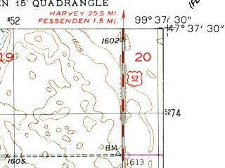 Reduced fragment of topographic map en--usgs--024k--015209--(1949)--N047-37-30_W099-45-00--N047-30-00_W099-37-30