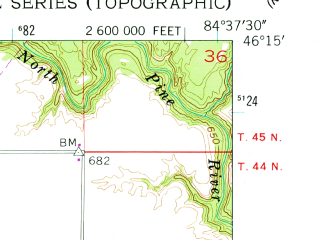 Reduced fragment of topographic map en--usgs--024k--015216--(1953)--N046-15-00_W084-45-00--N046-07-30_W084-37-30