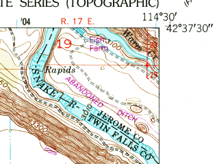 Reduced fragment of topographic map en--usgs--024k--015258--(1950)--N042-37-30_W114-37-30--N042-30-00_W114-30-00; towns and cities Filer