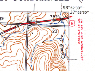 Reduced fragment of topographic map en--usgs--024k--015260--(1940)--N037-52-30_W094-00-00--N037-45-00_W093-52-30